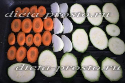 овочі порізати і викласти на гриль