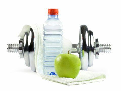 Гантеля, вода і яблуко