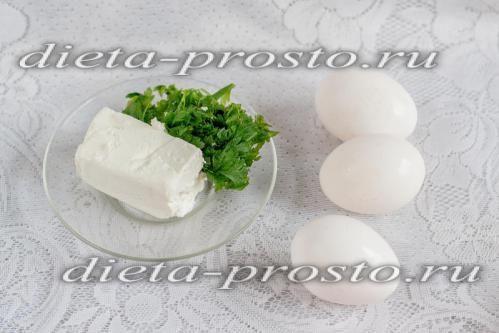 Омлет з сиром і зеленню в пароварці