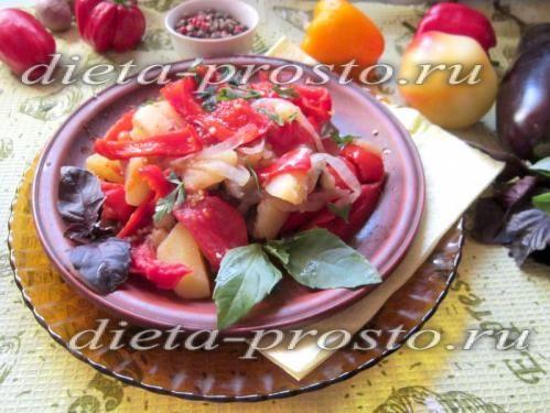 Ліниве овочеве дієтичне рагу в мультиварці.