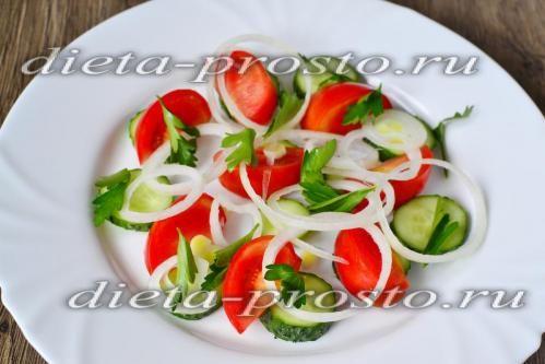 Викладаємо овочі на плоске блюдо