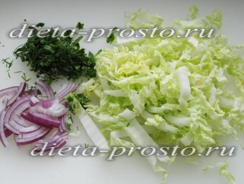 подрібніть овочі та зелень