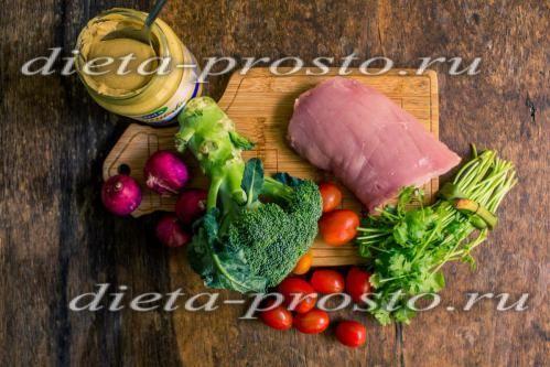 Салат з гарячою свининою