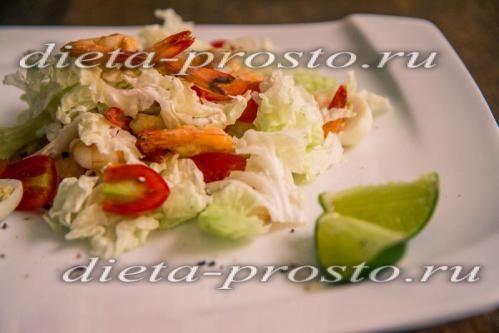 Рецепт салату з креветками і перепелиними яйцями