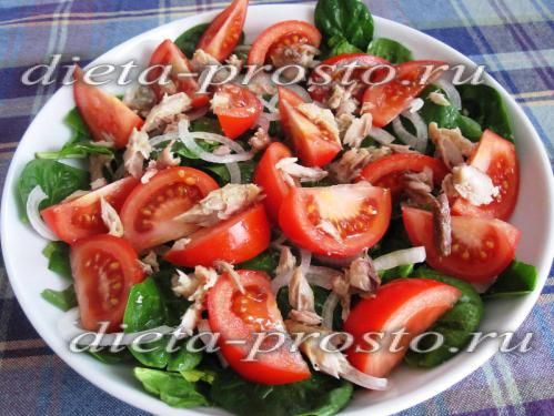 салат з шпинатом і скумбрією