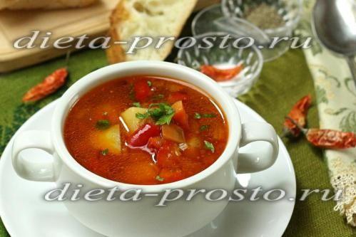 Томатний суп з сочевицею і овочами